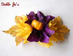 Large Pumpkin statement hair flower Alternative, Pin up, Rockabilly by DiabloJos…