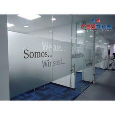 Office Wall Design, Modern Office Design, Wall Film, Office Screens, Etched Glass Door, Dental Office Decor, Office Works, Glass Office, Clinic Design