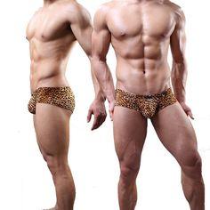 New Sexy Men Leopard U Pouch Low Rise Waist G-Strings Breathable Thongs Underwear Penis Pouch Gay Lingerie Gay Wear FX1007