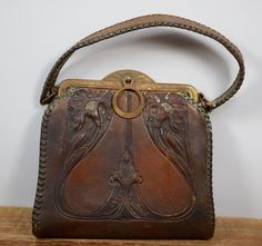 Art Nouveau Tooled Leather Purse, Arts and Crafts 1920s Purse, Antique Jemco Handbag, Art Deco Floral Pocketbook, Hand Tooled Leather Suede by HotAnnsCloset on Etsy