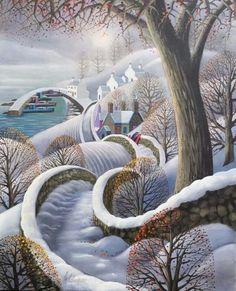 Winter Scene ~ Naive Art by George Callaghan . Art Gallery, Christmas Art, Art Painting, Naive Art, Landscape Illustration, Art, Folk Art Painting, Winter Art, Landscape Art