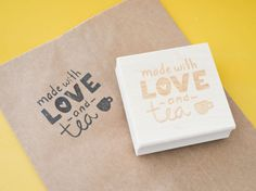 This Handmade With Love and Tea stamp will help you connect with your tea sipping customer base! You will let them know that you appreciate their love of handmade items and a fresh English Breakfast! We all love snail mail and getting packages so why not make it more fun! Your shop will stand out from the crowd with this stamp which was hand lettered by Kit from Ruby and Pearl Press!  This stamp is wood mounted so that you can use it on a variety of materials in an array of colors.