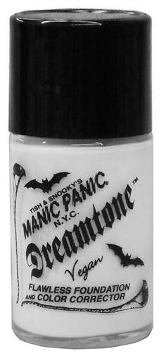 Buy it here: http://www.manicpanic.com/dreamtonefoundation Manic Panic Dreamtone Foundation in Virgin. Layer it allover for a flawless Goth complexion, or lightly dab under the eyes to cover dark circles. Mix with your existing foundation to create a paler shade for winter. Great for stage or Halloween makeup. Use as a base when covering tattoos or scars. When applied to the eyelids, it serves as a base for bright neon eye colors.