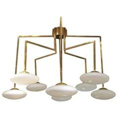 Gilded Brass and Opaline Ceiling Lamp, Italy, 1970