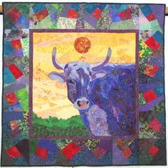 Purple Cow Quilted Wall-hanging by SylvanQuilts on Etsy Quilting Designs, Art Quilting, Farm Quilt, Purple Cow, Quilt Border, Animal Quilts, Art Textile, Textiles, Quilted Wall Hangings