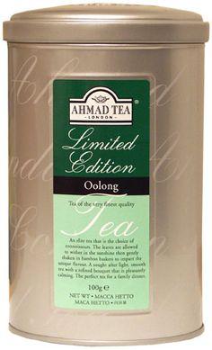 Ahmad Tea London Limited Edition Oolong tea tin ... gold colour cylinder with Ahmad in script on the tin, c. 2010s, UK