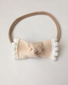 Newborn/Baby Felt MINI Pom-Pom Bow on Nylon by ShopMaizieBaby