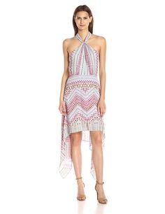 Amazon.com: BCBGMax Azria Women's Danela Printed Crossover Hi Low Hem Dress: Clothing