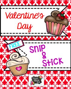 Speechie Freebies: Valentine's Day Snip and Stick. Pinned by SOS Inc. Resources. Follow all our boards at pinterest.com/sostherapy/ for therapy resources.