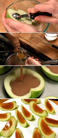 maçã com gelatina