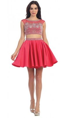 Watermelon Red Embellished Satin Two Piece Short Dress