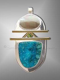 Bernardine Fine Art Jewelry - chrysocolla drusy pendant