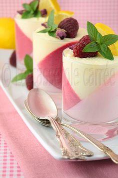 Verrines de panna cotta à la rose, mousse à la framboise et crème de lemon curd