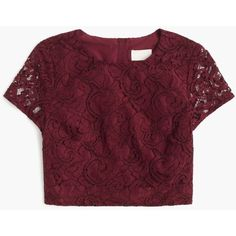 J.Crew Floral Lace Short-Sleeve Crop Top (1290 MAD) ❤ liked on Polyvore featuring tops, purple lace top, j crew tops, floral print top, short sleeve lace top и lacy tops