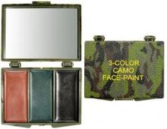 Camouflage Face Paint Compact with Mirror - Woodland Camouflage Colors. Woodland/Forest Camouflage colors - Brown, Olive Drab, and Black are classic Military Camo Paints.