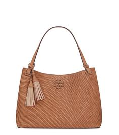 Tory Burch Thea Woven-leather Center-zip Tote