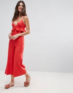 ASOS Linen Ruffle Cami Jumpsuit