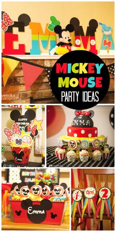 A Mickey Mouse Clubhouse birthday party with colorful decorations and fun photo props! I especially like the name in character letters. Mickey Mouse Clubhouse Birthday Party, Mickey Mouse 1st Birthday, Mickey Mouse Parties, Mickey Party, 2nd Birthday Parties, Birthday Ideas, Mickey Mouse Clubhouse Decorations, Disney Parties, Princess Birthday