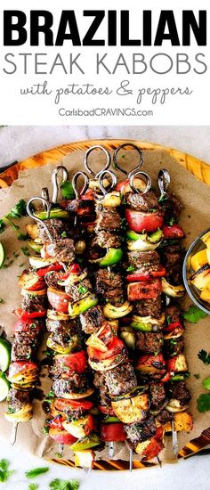 These easy Brazilian Steak Kabobs with potatoes, bell peppers and onions are so crazy juicy and exploding with flavor in every mouthwatering bite! Quite possibly the most delectable steak kabobs you w