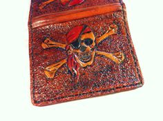 Mens Leather Pirate Skull Wallet  Made to by WorldofLeathercraft, $76.00