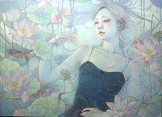 Miho Hirano - 水面の華 P30 Oil on canvas