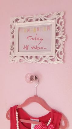 """Such a wonderful idea!!  """"Today, I'll Wear...""""  - daily outfit hanger.  Child picks out their outfit the night before and hangs it on their hanger - ready to go in the morning!  Could be fun in an adult version too."""