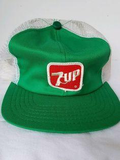 337f97fc3d7 Vintage 7 Up Soda Trucker Mesh SnapBack Ball Cap Hat - USA Made - Rare