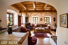 Népies formavilág - Szép Házak Cozy Cottage, Cottage Homes, Tadelakt, Stone Houses, Traditional House, Interior Design Living Room, My Dream Home, Interior And Exterior, Home Furniture
