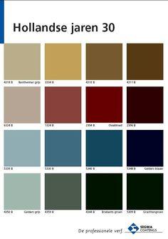 Welke kleuren gebruikte men in de '30-er jaren in Nederland? De kleurspecialisten van Sigma hebben dit handige kleurenoverzicht samengesteld. #wonen #interieur