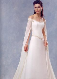 Stunning A Line Chiffon Lace Off The Shoulder Floor Length Wedding Dress With Sweep Train LOTR Lord Of Rings Arwen Elves