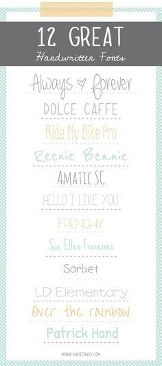 12 Handwritten Fonts | Angie Sandy Design + Illustration #fonts