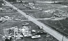 Tornadoes of the Super Outbreak; April 3, 1974: TANNER, Alabama, north to across the Tennessee line, F5. What the first Tanner F5 missed, the second one--the sixth F5 of the outbreak--swept away as it hit many of the same towns on a gruesome 50-mile path. One man injured in the first F5 was taken to a church which then collapsed in the second tornado and killed him. Tanner was revisited years later by an EF5, the largest of the April 2011 outbreak. (KevinR@Ky)