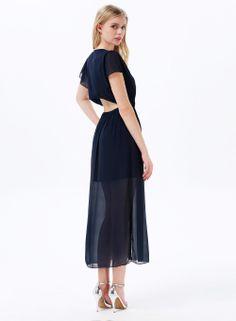 Vestido gasa cuello pico manga corta-azul