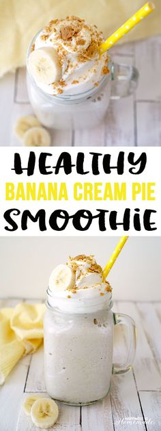 Healthy Smoothies Recipe Healthy Banana Cream Pie Protein Smoothie - This protein-packed banana cream pie smoothie is loaded with healthy and good-for-you ingredients, yet it tastes like a decadent creamy milkshake! Protein Smoothies, Healthy Protein Shakes, Protein Shake Recipes, Breakfast Smoothies, Smoothie Drinks, Banana Protein Shakes, Protein Milkshake, Diabetic Smoothies, Simple Smoothies