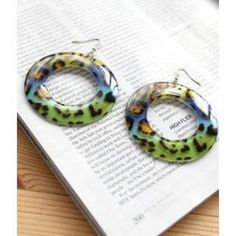 Leopard Hoop Earrings Blue - One Size