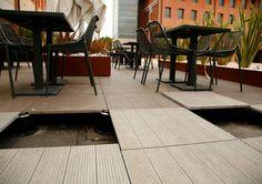 Create a raised patio or deck using Eterno Ivica pedestals and Valverdi 20mm outdoor porcelain tiles