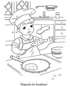 Winter Season Coloring page | Making Pancakes