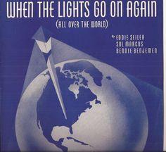 When the Lights Go On Again (All Over the World), Vintage Sheet Music, Eddie Seiler, Sol Marcus, Bennie Benjemen, Blue Cover Art, World by BettywasaBombshell on Etsy