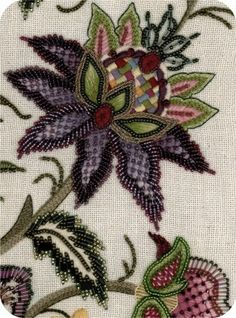 Jacobean style flower #purple #green