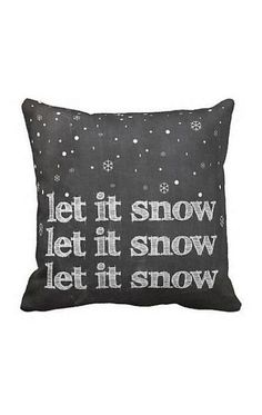 Pillow Cover Holiday Christmas Let it Snow Chalkboard Decor Cotton and Burlap Pillow Cover