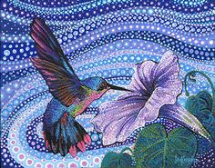 Hummer in Flight pieces) Acrylic Artwork, Dot Art Painting, Mandala Painting, Painting & Drawing, Mandala Canvas, Mandala Dots, Symbolic Art, Psychedelic Drawings, Hand Painted Rocks