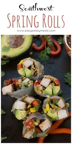 Grilled Chicken, a high protein Southwest Veggie Blend, fresh avocado, fresh cilantro, and fresh sliced red peppers, all wrapped together in a rice paper spring roll wrapper. Southwest Spring Rolls are yummy! #ad #Everydayeffortless @TysonRecipes @Walmart @realbirdseye- Eazy Peazy Mealz