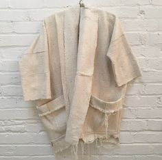 raw cotton shawl collar kimono jacket with pockets & raw hem. Handwoven, slow fashion, casual boho style.