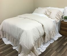Cream Linen Duvet Cover with Mermaid Long Ruffles, Sumptuous Soft #etsyhandmade  #etsyshopping #estyseller #estystore #etsyhunter #etsyfavorites #etsyfinds #etsylinen #amazonhandmade #handmadeamazon