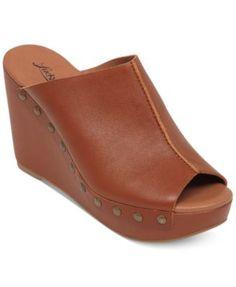 Lucky Brand Women's Malayah Platform Wedge Slide Sandals leather almond 3.75h sz7.5 69.99 Sale thru 10/25 30%off thru 10/24 (48.99)