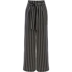 STRIPE WIDE LEG TROUSER (89 CAD) ❤ liked on Polyvore featuring pants, black and white striped pants, striped pants, black white pants, wide-leg pants and wide leg pants
