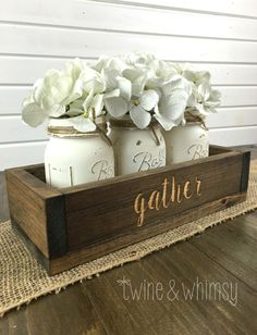 Mason Jar Centerpiece Wood box Rustic by TwineandWhimsy on Etsy