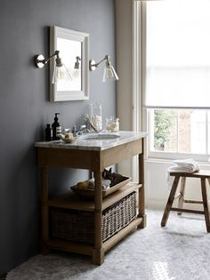 Create your own spa-like sanctuary with oak and marble bathroom furniture. Cheap Bathrooms, Large Bathrooms, Amazing Bathrooms, Small Bathroom, Wooden Bathroom, Bathroom Ideas, Bathroom Wall Lights, Downstairs Bathroom, Bathroom Lighting