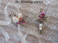 Wedding, Corsage, Vintage Corsage, Corsage, Pink, Corsage, Mothers wrist corsage, Dried flower corsage, bride corsage  This is a sample listing of one single corsage only and has beautiful dried wild flowers and babys breath on a sheer ivory satin ribbon to tie on wrist! This is a beautiful soft vintage style corsage for a mother, grandmother and or special occasion. ++ the last picture shows a matching boutonniere that can be purchased separately if needed.  **Please NOTE: Sola flowers are…