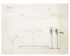 Greta Magnusson Grossman, Floor lamp model 900 F, 1940. Technical drawing for a floor lamp with two shades. Source